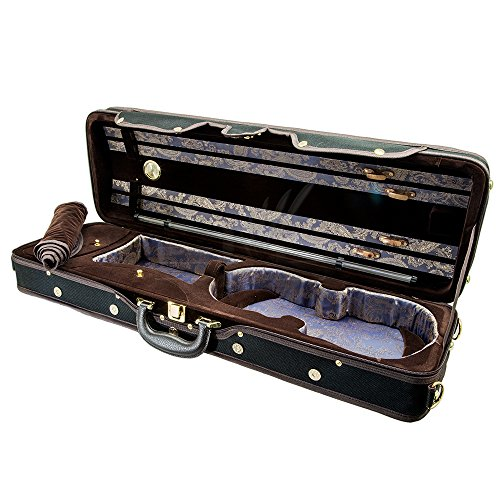 Paititi PTVNQF28 4/4 Full Size Professional Oblong Shape Lightweight Violin Hard Case, Black/Brown by Paititi