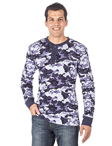 Mens Solid Thermal Henley Long Sleeve T-shirts - Camo Blue - Large