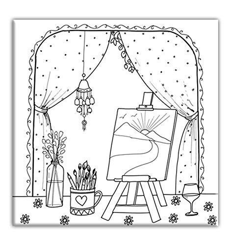 Artist Desk Coloring Canvas for adults, Stretched primed canvas 8 x 8 Inches