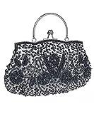 iToolai Satin Purse Evening Handbags Wedding Bag Beaded Sequins Clutch (Gray)