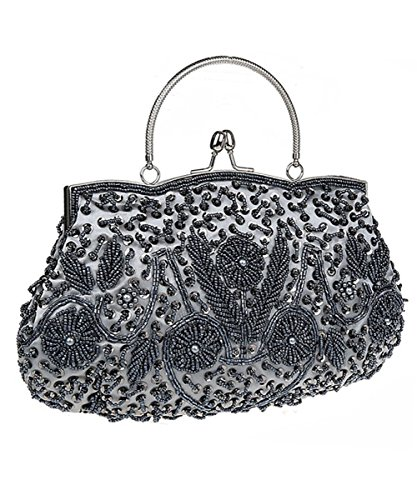 iToolai Satin Purse Evening Handbags Wedding Bag Beaded Sequins Clutch - Mini Bow Clutch