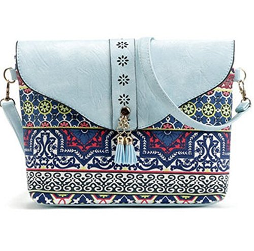 Sacs TENGGO Crossbody Bleu Épaule Creux Ciel Tassel Femmes Porté Bohême Bags Rabat Noir Vintage Messenger Sacs rS8tASw