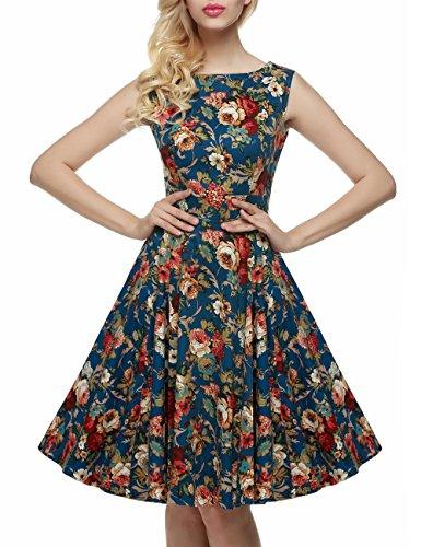 vkstar® a-line Classic Print para mujer de la 1950Retro Floral Vintage vestido de fiesta vestido de cóctel vestidos de dama primavera jardín Picnic té Lago Azul
