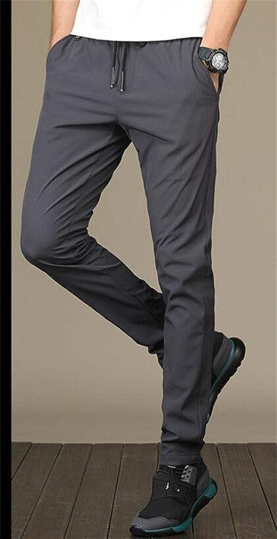 Cromoncent Men Slim Workout Trousers Zip Sports Drawstring Pants