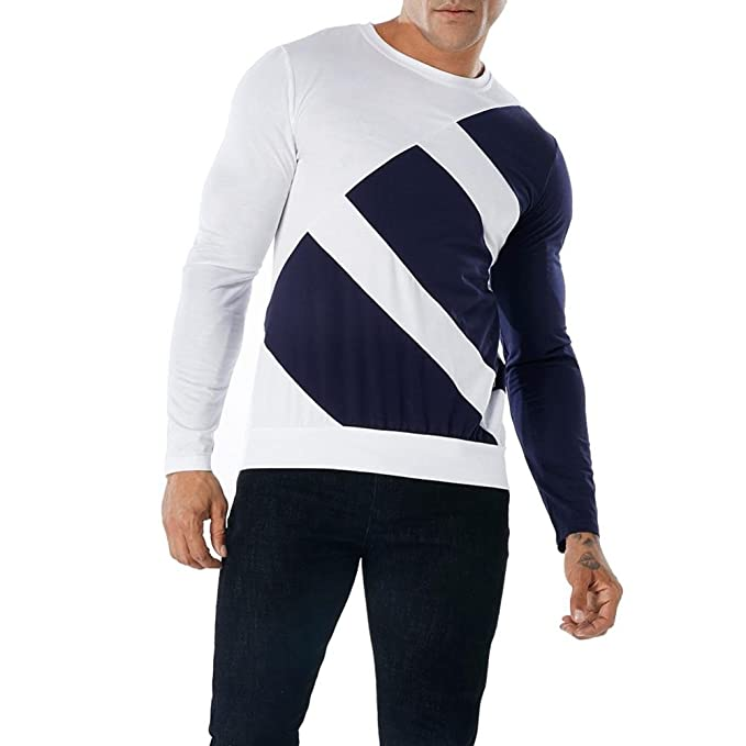 La Blusa Superior Delgada de Manga Larga de la Camiseta del Remiendo Ocasional de los Hombres