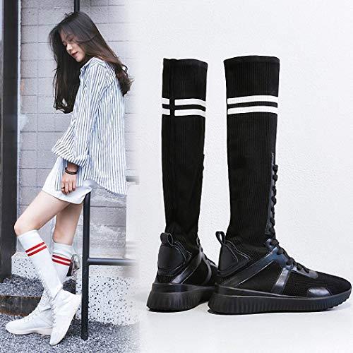 Stivali Lucdespo Scarpe Boots Bottom Bottom Boots Elastic Socks Ladies Socks Knitted Boots nero Large Fashion Girls Casual AwfqA