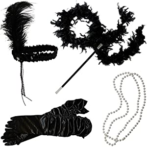 Flapper Accessories - 20s Womens Fashion Costume Dress Up - (5 Piece Set) by Funny Party Hats