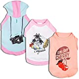 """Blueberry Pet Pack of 3 Clothes for Dogs, Back Length 12"""", Dog T Shirt Hoodie with Camera Cherry and Chill Summer California Pattern"""