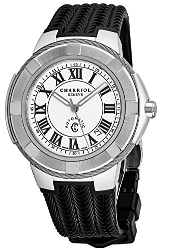 Charriol Celtic Mens Stainless Steel Automatic Watch - 43mm Analog White Face Black Rubber Strap Casual Automatic Swiss Watch for Men -