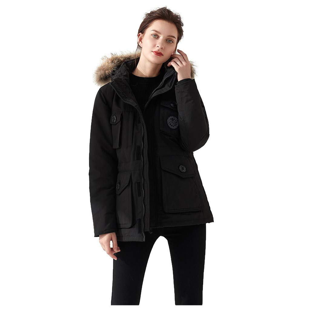 Dermanony Women's Down Coat Winter Warm Large Size Pockets Casual Down Jacket Faux Fur Collar Loose Thick Hooded Coat Black by Dermanony _Coat