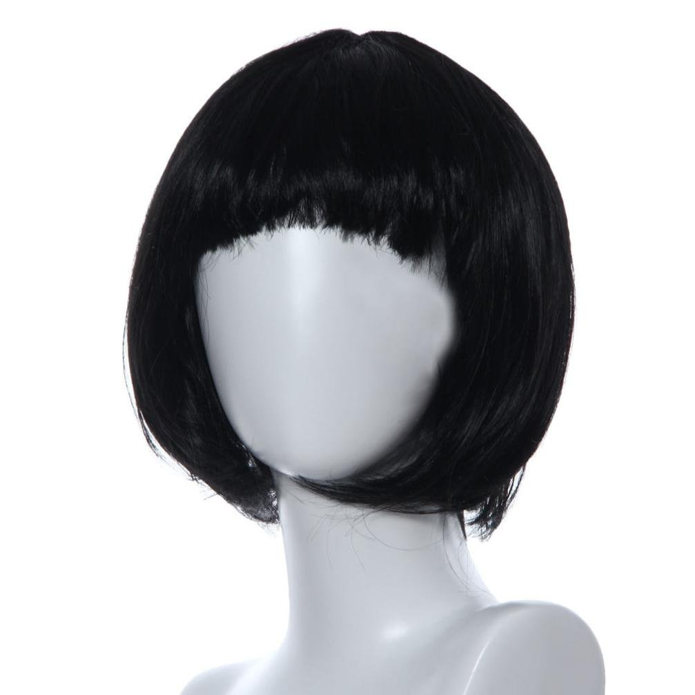 11.4'' LiPing Lady Wig with Wig Cap Natural Looking Heat Resistant -Masquerade Short Bob Wigs - Bangs Straight Colorful Cosplay Synthetic Wig (black)