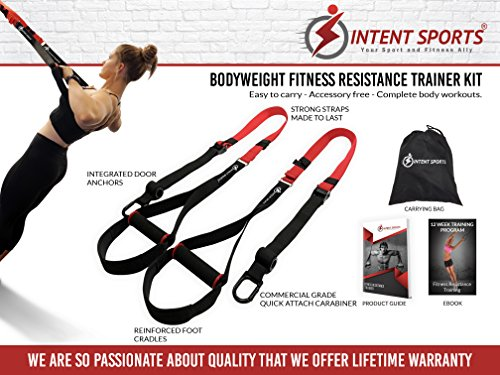 Bodyweight Fitness Resistance Trainer Kit with Pro Straps for Door, Pull up Bar or Anchor Point. Lean, Light, Extra Durable for Complete Body Workouts. E-Book ''12 Week Program'' (Patent Pending) by INTENT SPORTS (Image #1)