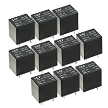 uxcell® 10Pcs DC 5V Coil SPDT 1NO+1NC 5P Power Electromagnetic Relay DIN Rail/PCB Mounted 250V/30V 15A