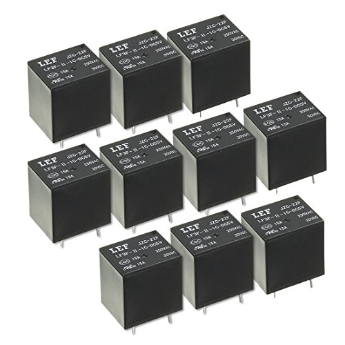 uxcell 10Pcs DC 5V Coil SPDT 1NO+1NC 5P Power Electromagnetic Relay DIN Rail/PCB Mounted 250V/30V (30 Power Relay)