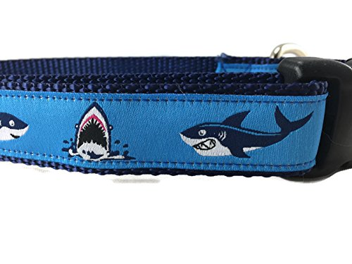 Large 15-22\ Ocean Dog Collar, Caninedesign, Quick Release Buckle, 1 inch Wide, Adjustable, Nylon, Medium and Large (Sharks, Large 15-22 )