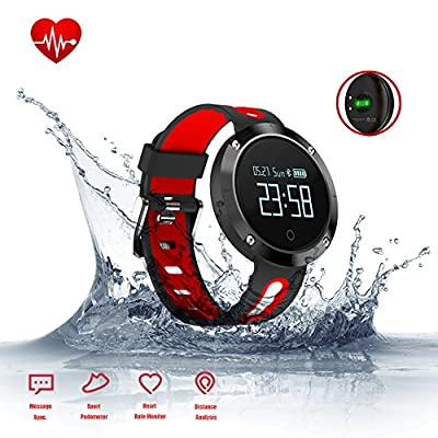 Fitness Tracker - Smart Bracelet Wristband with Blood Pressure Monitor Heart Rate Monitor - Sports Watch with Pedometer Calorie Counter IP67 Waterproof for iPhone Android Smartphones (DM58-RED)