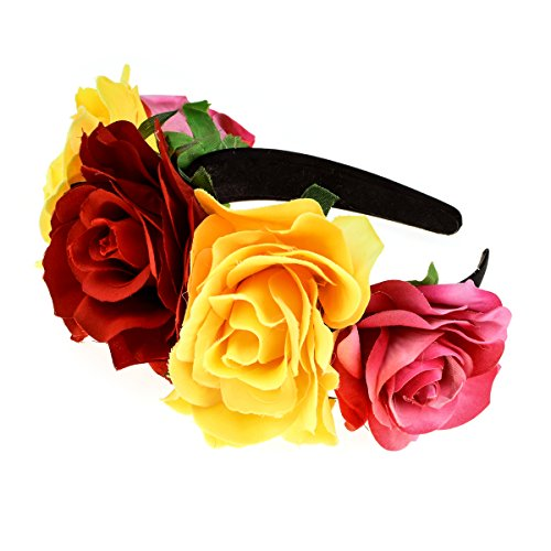 Accesyes Custom Mexican Flower Crown Day of The Dead Headpiece Hawaiian Boho Frida Floral (Red-Yellow) -