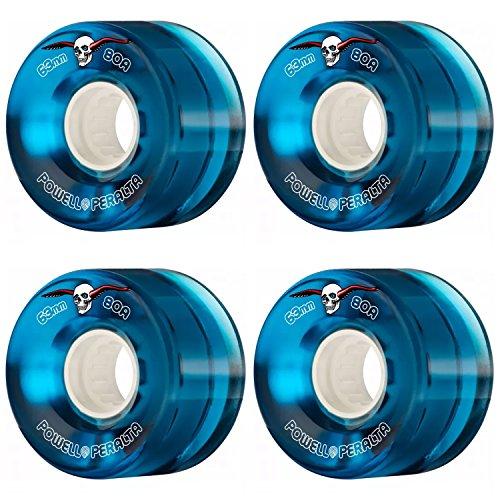 堤防ビジネス請求書powell-peralta Clear Cruiserブルー63 mm 80 aソフトスケートボードLongboard Wheels
