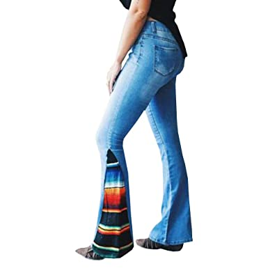 Mujeres Arco Iris Pantalones Acampanados Color de Empalme ...