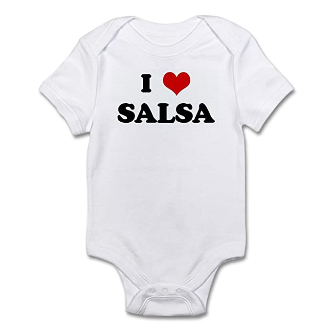 CafePress I Love Salsa Infant Bodysuit Cute Infant Bodysuit Baby Romper Cloud White