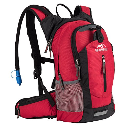 Insulated Hydration Backpack Pack with 2.5L BPA FREE Bladder, Lightweight Daypack Water Backpack For Hiking Running Cycling Camping, School Commuter, Fits Men, Women, Kids, 18L Red