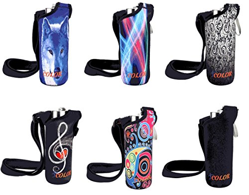 ICOLOR Water Bottle Carrier Neoprene Bottle Holder w/Adjustable Shoulder Strap Sling Insulated Outdoor Sports Water Bottle Sleeve Bag Case Pouch Cover,Fits Bottle w/The Diameter Less Than 3 inch
