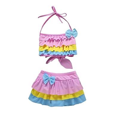 8bac080aa3 Yalasga 2Pcs Girls Color Block Ruffle Swimwear Halter Tops Skirt Bathing Bikini  Set (Pink