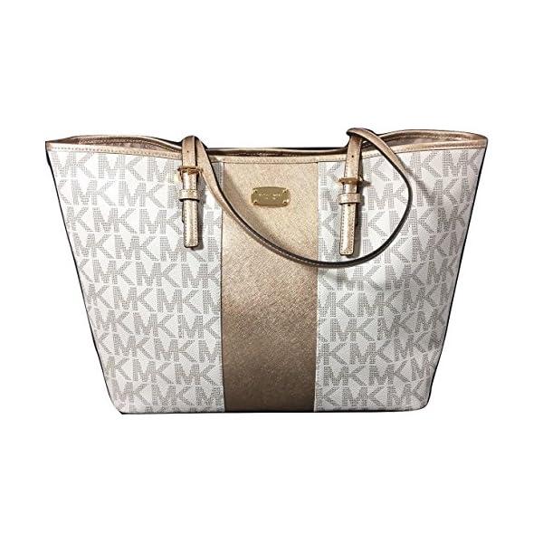 2897dc567c12ff Michael Kors Met Center Stripe Tote MK Logo Handbag (Vanilla) -