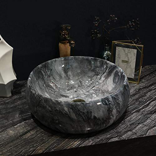 (ERGOUZI Ceramic Countertop European Round Washbasin, Art Bathroom Washbasin Home Simple Dark Grey Washbasin Ceramic only Sink)
