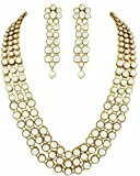 Shining Diva Gold Plated Kundan Pearl Necklace Set With Earrings For Women (Golden)