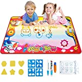 "Cyiecw Water Drawing Mat, Aqua Doodle Mat Water Magic Drawing Toys Kids Educational Writing Mats Drawing Mat for Kids Toddlers Children Age 2-14, Size 34.5"" X 22.5"" in 7 Colors"