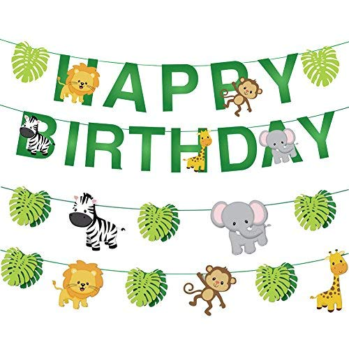34pcs Jungle Animals Leaves Happy Birthday Banner Decoration Set for Woodland Garland Forest Theme Birthday Festival Party ()