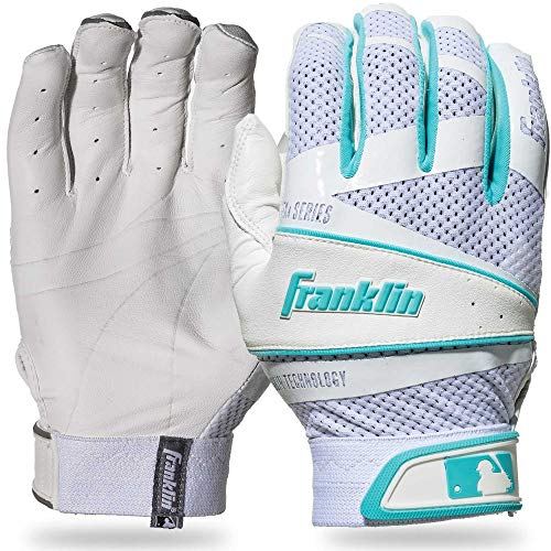 (Franklin Sports Fastpitch Freeflex Series Batting Gloves - White/Tiffany Blue - Women's Small)