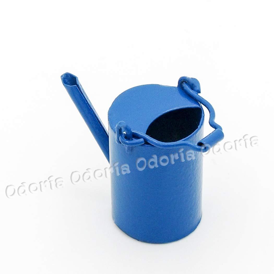 Odoria 112 Miniatur Metall Gießkanne Blau Und Feengarten Deko