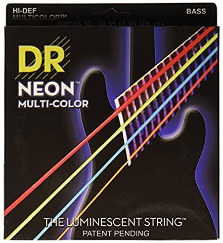 DR Strings NMCB6-30 DR NEON 6 Bass Guitar String, Medium, Multi-Color (Dr Bass Guitar Strings For 6)