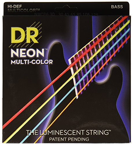 DR Strings NMCB6-30 DR NEON 6 Bass Guitar String, Medium, Multi-Color
