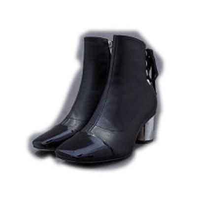 hexiajia Chaussure Femme Bottines à Talon Bas et Épais Cuir no1r Blanc