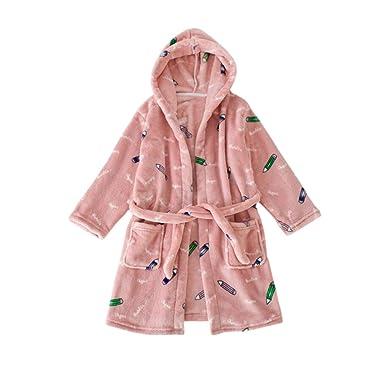283b574fef Bfsports Unisex Boys Girls Soft Fleece Cartoon Hooded Robes Kids Dressing Pajamas  Bathrobe Dark Pink Pencil