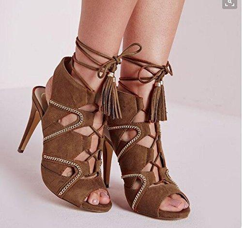 Sandalias de tacón alto sandalias de moda sandalias de tacón alto banquetes Sandalias Dark Brown