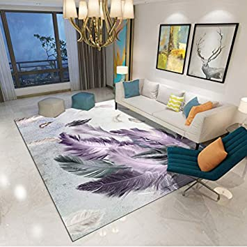 Carpet Nordic Style Creative Simple Abstract Feather Print Living Room Bedroom Decor Rugs Tea Table Mat 80cmx150cm