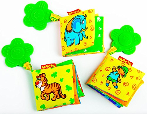 Baby Activity Book and Teething toys (PACK OF 3)- Developmental baby toys for boy and Girls- Toys for babies 6-12 months- Babies toys- 6 month baby toys- Educational toys for 1 year old- Infant toys Baby Toy Pictures