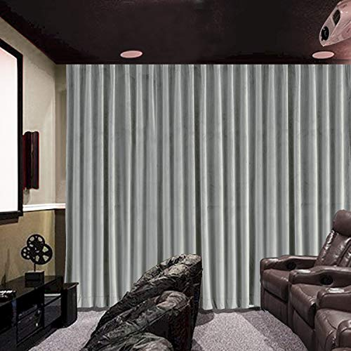 cololeaf Home Velvet Bedroom Curtains Soft Window Covering Drapes for Home Theater Studio, Flat Hooks Curtain for Traverse Rod or Track - Grey 120W x 102L inch (1 Panel)