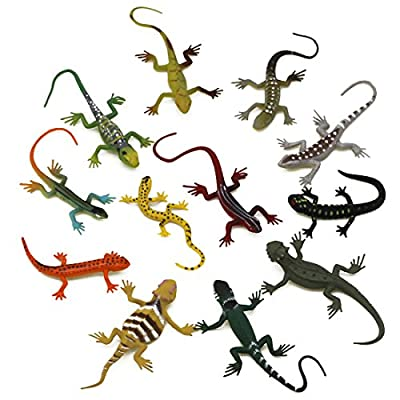 Kvvdi 12pcs 5 Inch Colorful Fake Plastic Lizard Toys Action Figure for Kids Reptile Party Supplies Toy Lizards Realistic Favors: Toys & Games