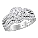 14k White Gold Diamond Halo Engagement Ring & Wedding Band Set Round Bridal Illusion Style 1.00 ctw