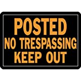 "Hy-Ko Products 813 Posted No Trespassing Keep Out Aluminum Sign 9.25"" x 14"" Orange/Black, 1 Piece"
