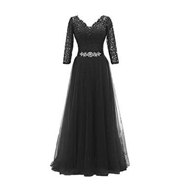 Huifany Women Long Evening Dresses Formal Party Lace Prom Dress Black Size US02