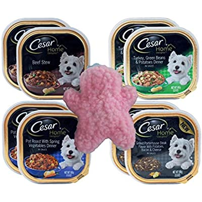 Cesar Home Delights Small Breed Dog Food 4 Flavor 8 Can with Toy Bundle, 2 each: Beef Stew, Turkey Green Beans Potatoes, Pot Roast Spring Vegetable, Grilled Porterhouse Steak Bacon Cheese (3.5 Ounces)