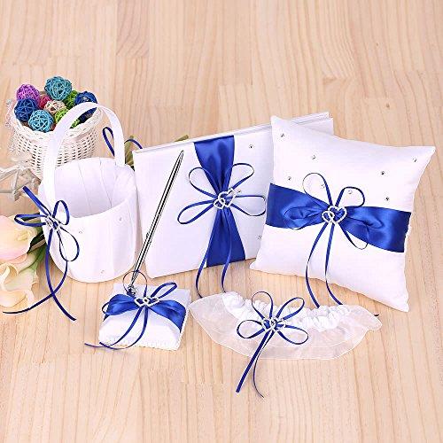 ZHX 5pcs/Set Wedding Supplies Double Heart Satin Flower Girl Basket + 7 7 inches Ring Bearer Pillow + Guest Book + Pen Holder + Bride Garter Set White Blue One Size from ZHX