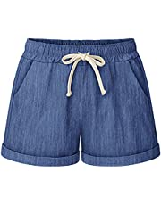 siyecaoo Women's Drawstring Elastic Shorts Waist Pocketed Casual Summer Cotton Linen Beach Shorts