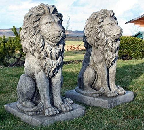 Discount Garden Statues Pareja de estatuas de Leones sentados como decoración para jardín (Piedra, tamaño Grande): Amazon.es: Jardín